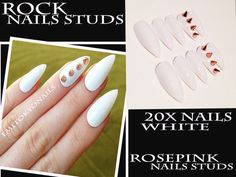 20xWhite Nails Studs,Hand Painted Nails,False nails+GLUE