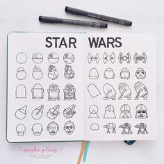 Are you a Star Wars fan? I got you covered with Star Wars themed BuJo pages, doodle tutorials and stationery to bring the space epic to your journal pages. Bullet Journal 2020, Bullet Journal Notebook, Bullet Journal Themes, Bullet Journal Inspiration, Doodle Inspiration, Griffonnages Kawaii, Theme Star Wars, Space Doodles, Cuadros Star Wars