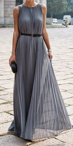 Grey Pleated Maxi Dress. #grey #pleats
