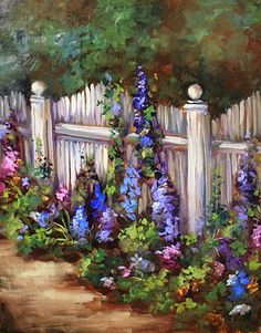 Delphiniums of Coronado by Texas Flower Artist Nancy Medina, painting by artist Nancy Medina