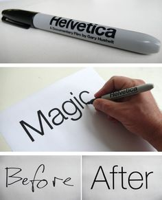 Magic pen writes in Helvetica!