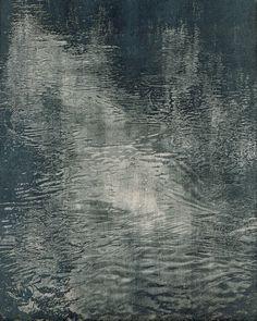 """"""" Franz Gertsch (Swiss, b. Schwarzwasser I, Woodcut, 234 x 181 cm. Franz Gertsch, Centre Pompidou Paris, Water Ripples, Mermaids And Mermen, Seascape Paintings, Landscape Art, Dark Art, Printmaking, Design Art"""