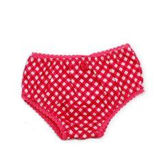 """Petit Louie zomer 2012. Rood met geruit broekje afgezet met een fantasiebandje. Het onderbroekje hoort bij het Petit Louie jurkje """"bardot"""". 7 euro vanaf maat 0-3 maand."""