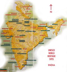 Map of India UNESCO World Heritage Sites.