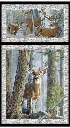 "2 Blocks QT Kevin Daniel ""In The Woods"" 26045-K Deer Fabric Panel 23 1/2"" x 44"""