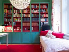And new colors with turquoise shelves, pink red carpet (?) And the beautiful chandelier! I love you?