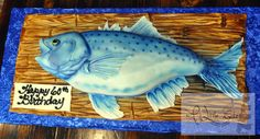 We make this cake in the shape of a fish for a 60th birthday party