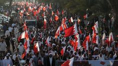 File photo shows anti-regime protesters in Bahrain.