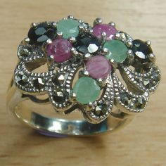 Round Cut Genuine Ruby Emerald Sapphire 925 Sterling Silver Cluster Ring