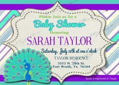 "Listing is for ONE 5"" x 7 PRINTABLE Peacock baby shower Invitation. YOU print! You can either use the wording as shown or send us your own. We"