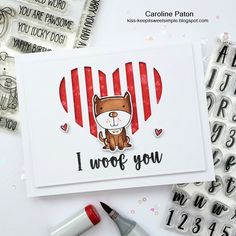 I WOOF YOU : by Caroline Paton using MFT Four legged friends and mini well connected alpha