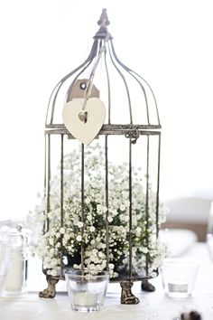 Baby's breath in a birdcage for the dinner table's centrepiece. Chic and…