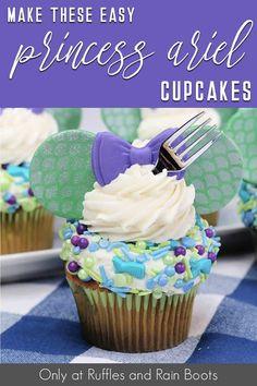 Minnie Cupcakes, Girl Cupcakes, Fun Cupcakes, Cupcake Party, Little Mermaid Cupcakes, Little Mermaid Parties, The Little Mermaid, Butter Cupcakes, Vanilla Cupcakes