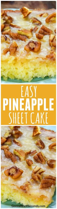 Pineapple Sheet Cake is a moist, pineapple-studded cake drenched in a sweet, creamy coconut icing, with crispy toasted pecans on top. You'll be dreaming of beach vacations and tropical cocktails after just one bite!