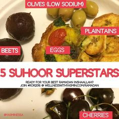 Here are some suhoor (pre-dawn pre-fasting meal) superstars for you. There are plenty more where this list came from but try some of these. You can also still join my Ramadan Online Retreat at http://ift.tt/1U12J7z and you even get to pick your own registration price. #Ramadan #suhoor #sehri #healthy #fitmuslima #beets #plaintains #cherries #eggs #olives #islam #fasting #wellnesswithyasmin #foodie #glutenfree #dairyfree #paleo #hormonebalance #eatforenergy #natural #organic #homemade #yum…