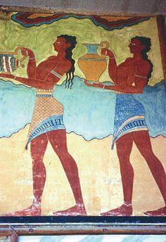 Los hombres llevaban faldas cortas, parecidas a las utilizadas por los egipcios, y cinturones que sujetaban pequeños delantales, también se paseaban desnudos libremente.