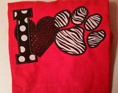 I Love Tigers Shirt - I Heart Paw Print -School Spirit Shirt - I Love Dogs - Animal Rescue - Wildcats Shirt - Bears Shirt - Football Shirt by fabuellaboutique. Explore more products on http://fabuellaboutique.etsy.com