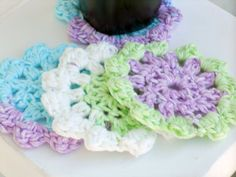 summer variegated Crochet Coasters/Doilies for by ValkinThreads2, $10.00