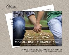 Double Sided #Gay #Wedding Photo Save The Date Postcards By iDesignStationery On $Etsy - $12.95