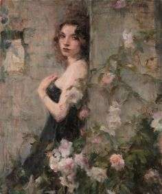 The Garden Wall - Ron Hicks American painter Impressionism Classic Paintings, Old Paintings, Romanticism Paintings, Aesthetic Painting, Aesthetic Art, Rennaissance Art, Renaissance Paintings, Classical Art, Old Art