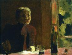'Madame Vuillard at Table', - 27 x 34 cm -  1888 by Edouard Vuillard (1868-1940, France)