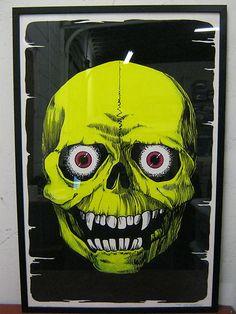 """Vintage Poster - 70s Blacklight Art  - 1976 Skull - 70s Funky Enterprises   $199 Custom Frame: 24""""x36"""", Museum Quality UV Plexi #VintagePoster #Blacklight #Psychedelic #Skull Black Light Posters, Skull Art, Plexus Products, Custom Framing, Vintage Posters, Psychedelic, Vintage Black, Museum, Frame"""