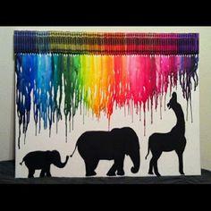 La peinture coloré qui découle ne touche pas les animaux qui sont en noir sur fond beige.Ces éléments forme une unité.