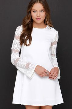 Chic Ivory Dress- Long Sleeve Dress - Embroidered Dress - White Mesh Dress - $44.00