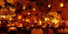 A restaurant hidden deep within a cave in Kenya... so romantic and beautiful