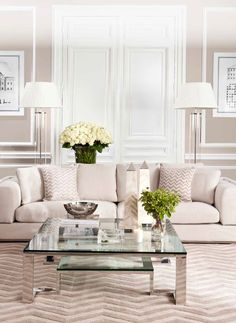 Channel Luxe elegance and opulence into your living room interior design scheme with the power of white.White embraces a harmonious balance of all the colours of the spectrum. Fresh and reflective, it encourages other design elements to ascend to the fore. Blend a mixture of warm pearl and praline whites with cool ice and milky white hues for a decorating idea which will set the tone for laid-back luxury living.