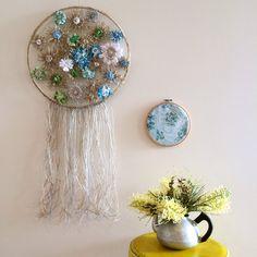 Flowerloom Dreamcatcher in blue  #neekienoohome #weaving #dtll