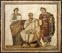 Mosaic work depicting the poet Virgil (Publius Vergilius Maro, 70 BC - 19 AD) writing the Aeneid sitting between the muses Clio and Melpomene