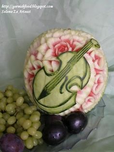 #Watermelon carving. Violin. Fiddle. Art. Inspiration. Fruit. #Summer