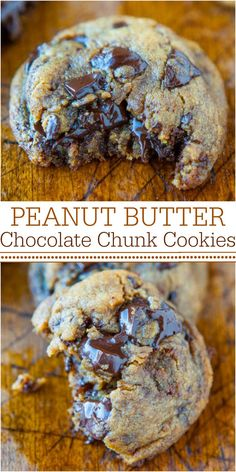 Peanut Butter Chocolate Chunk Cookies - The BEST PB Cookies! NO Flour, NO Butter, and NO White sugar used! Soft, chewy and oozing with dark chocolate!!