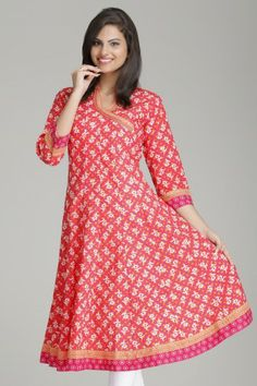 Vibrant Pink Anarkali Cotton Kurta by Farida Gupta