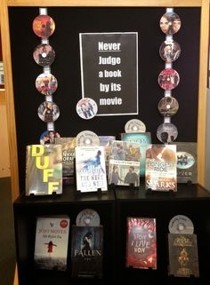 Library Displays Books and the (pictures of) their DVDs.