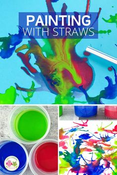 Blow painting with straws is an exciting and creative process art project for kids.  Your kids will love these straw blown paintings!.  Straw painting is an easy art project for kids in preschool, pre-k or a home.  Make monsters, ocean coral, germs, peacock or just let them create open-ended art.  Paint on canvas or paper....includes ideas for experimenting. Fine Motor Activities For Kids, Steam Activities, Color Activities, Creative Activities, Hands On Activities, Easy Art Projects, Projects For Kids, Blow Paint, Different Types Of Painting