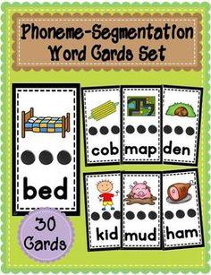 Phoneme-Segmentation Card Set - This set is designed to practice phoneme segmentation skills. The word card activities focus on breaking up words into sounds (phoneme segmentation).