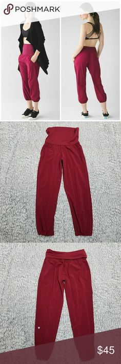Lululemon rosewood om pants In great condition no flaws super comfy pants with pockets. Can wear high rise or low rise.  Size 6.  CHECK OUT MY OTHER LISTINGS ON MORE AMAZING DEALS lululemon athletica Pants Ankle & Cropped