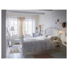Girl Room Decor Ideas - Where should I start decorating my bedroom? Girl Room Decor Ideas - What should every bedroom have? Cama Ikea, Bed Ikea, Ikea Leirvik, Bedroom Furniture Inspiration, Bedroom Inspo, White Metal Bed, White Wood, Comfort Mattress, White Bedrooms