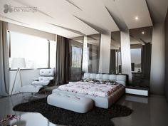 Modern Bedroom with Great Ceiling Design - 10 Impressive Bedroom Ceiling Ideas