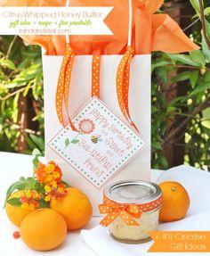 Citrus Whipped Honey Butter + Free Printable + 101 #birthdaygiftideas
