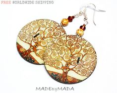 Klimt - Tree of life motif Earth tones decoupage jewelry Brown Ecru Beige, gift for her under 25 from MADEbyMADA on Etsy. Saved to from MADEbyMADA shop. Paper Earrings, Wooden Earrings, Paper Jewelry, Textile Jewelry, Cute Earrings, Resin Jewelry, Beaded Earrings, Earrings Handmade, Handmade Jewelry