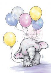 Wild Rose Studio Rubber Stamp - Bella with Balloons