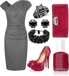 """""""Pencil Dress with a touch of cranberry"""" by debbiejoreed on Polyvore"""
