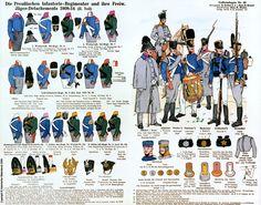 Colori distintivi dei rgt. fanteria di linea e dei distaccamenti cacciatori prussiani