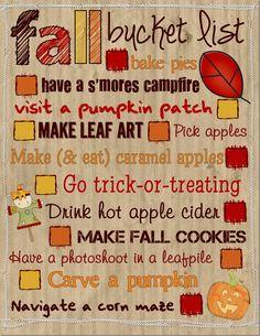 fall bucket list printable, adorable!!