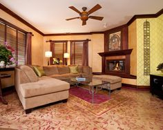 Stenciled Concrete Floor Carpet adds pattern and color to home design