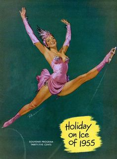 Holiday on Ice 1955 Poster, vintage skating program