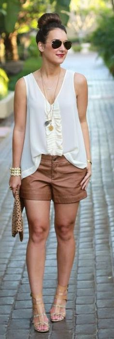 Anthropologie Bronze Leather Loose Women's Shorts